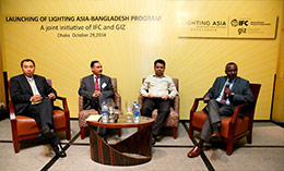 From L-R; Dr. Huashang Wang, Chairman of the OmniVoltaic Board; Mr. Enamul Karim Pavel, Head of Renewable Energy Department, IDCOL; Mr. Siddique Zobair, Joint Secretary, Ministry for Power, Energy and Mineral Resources, Bangladesh; and Mr Itotia Njagi of Lighting Africa program in a panel discussion during the launch of the Lighting Asia/Bangladesh program.