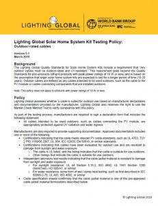 The Lighting Global Quality Standards For Solar Home System Kits Include A Requirement That Any Outdoor Cables Must Be Rated And Uv Resistant